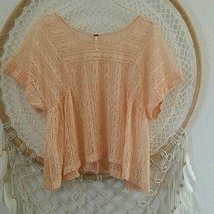 Free People Peach Tea lace top sz M